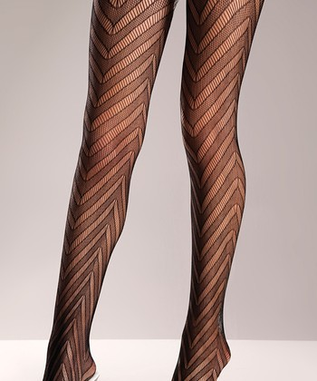 Black Chevron Tights - Plus