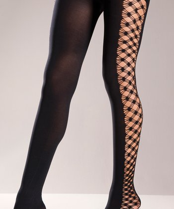 Black Opaque Fence Net Tights - Women & Plus