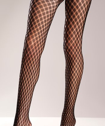 Black Woven Tights - Women