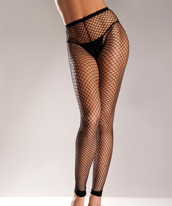 Black Fishnet Footless Tights - Women