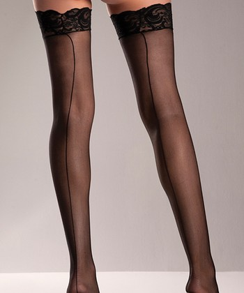 Black Sheer Seam Lace-Top Thigh-High Stockings - Women