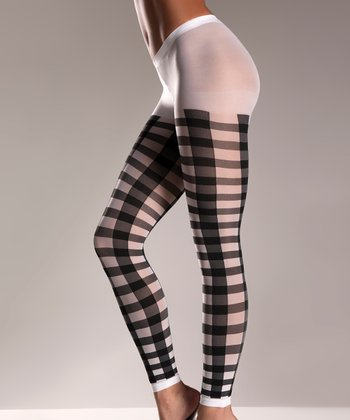 Black & White Gingham Footless Tights - Women