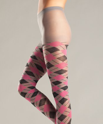 Gray & Pink Argyle Tights - Women & Plus