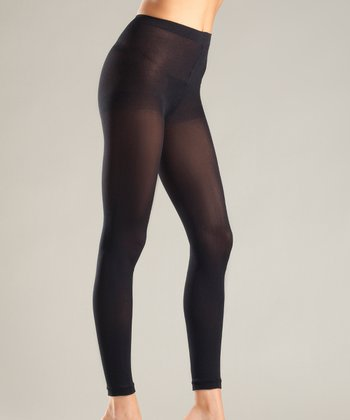 Black Opaque Footless Tights - Women & Plus