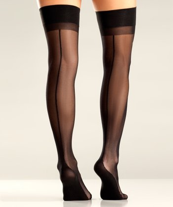 Black Seam Thigh-High Stockings - Women