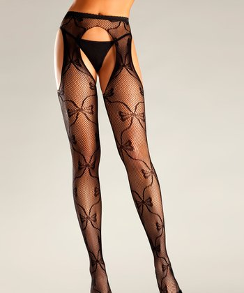 Black Bow Cutout Fishnet Tights - Women