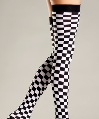 Black & White Checkerboard Thigh-High Stockings - Women