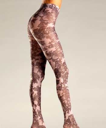 Nude Opaque Floral Lace Tights - Women