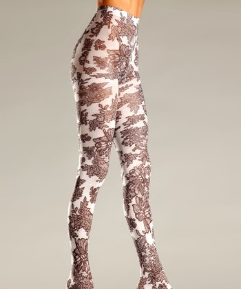 White Opaque Floral Lace Tights - Women