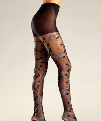 Gray & Blue Floral Tights - Women