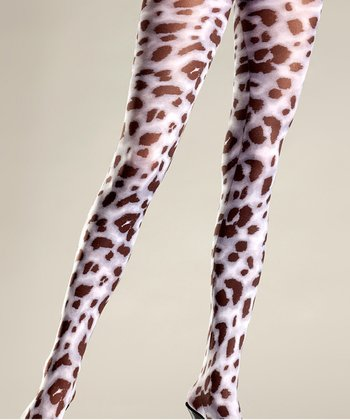 Black & White Leopard Tights - Women