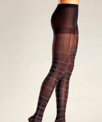 Black & Red Plaid Tights - Women