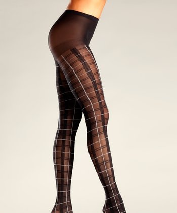 Black & White Plaid Tights - Women