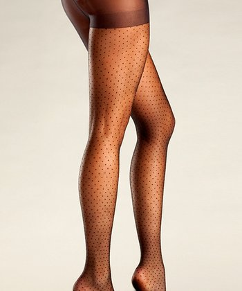Black Pin Dot Tights - Women