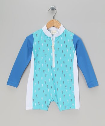 Blue Seahorse One-Piece Rashguard - Toddler & Boys