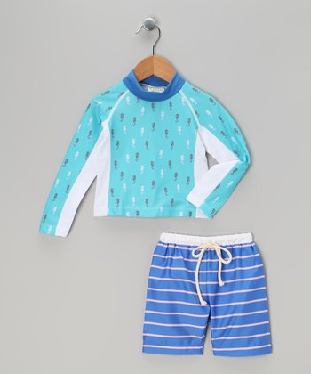 Blue Stripe Seahorse Rashguard Set - Toddler & Boys