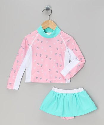 Pink Palm Tree Rashguard Set - Toddler & Girls
