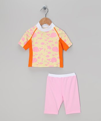 Yellow & Pink Whale Rashguard Set - Toddler & Girls