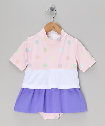 Pink & Purple Polka Dot Swim Dress - Toddler & Girls