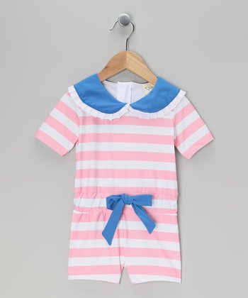 Pink & White Stripe Ahuna One-Piece Rashguard - Toddler & GIrls