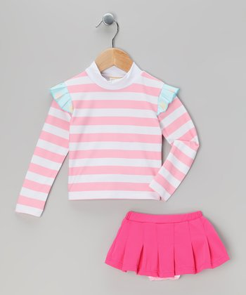 Pink Stripe Bora Bora Rashguard Set - Toddler & Girls