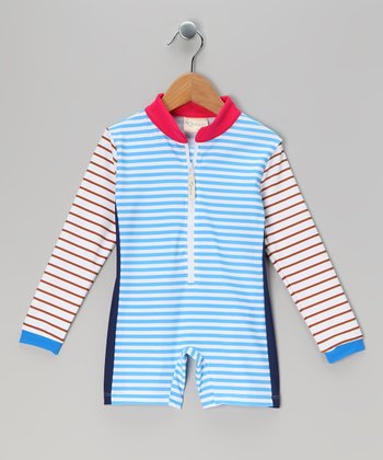 Blue & White Stripe One-Piece Rashguard - Infant, Toddler & Girls
