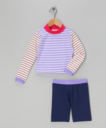 Purple & White Stripe Rashguard Set - Infant, Toddler & Boys