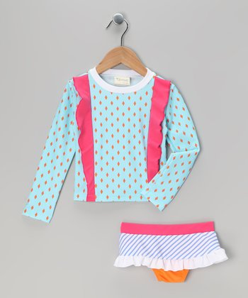 Blue Diamond Long-Sleeve Rashguard Set - Infant, Toddler & Girls