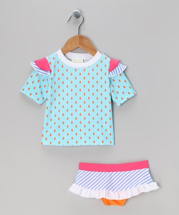 Blue Diamond Short-Sleeve Rashguard Set - Infant, Toddler & Girls