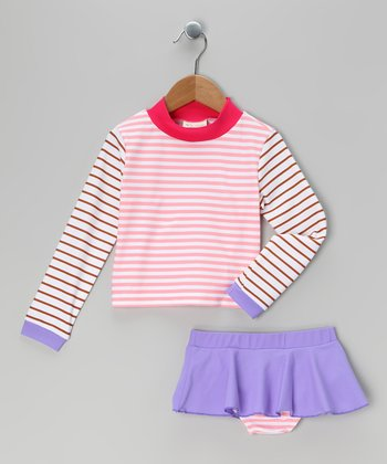 Pink & White Stripe Rashguard Set - Infant, Toddler & Girls