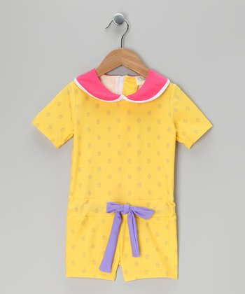Yellow Ahuna One-Piece Rashguard - Infant, Toddler & Girls
