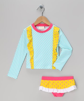Blue & Yellow Stripe Rashguard Set - Infant, Toddler & Girls
