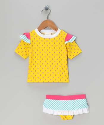 Yellow Stripe Rashguard Set - Infant, Toddler & Girls