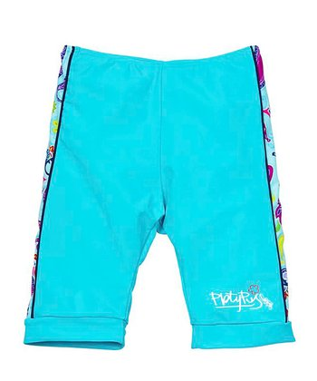 Aqua Paisley Bike Shorts - Girls