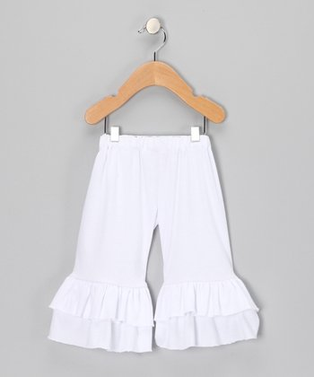 White Ruffle Pants - Toddler & Girls
