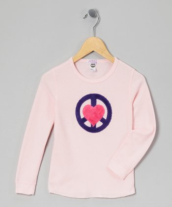 Pink Peace Heart Thermal - Girls