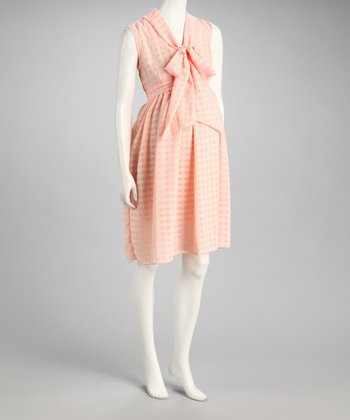 Peach Georgette Maternity Dress - Women