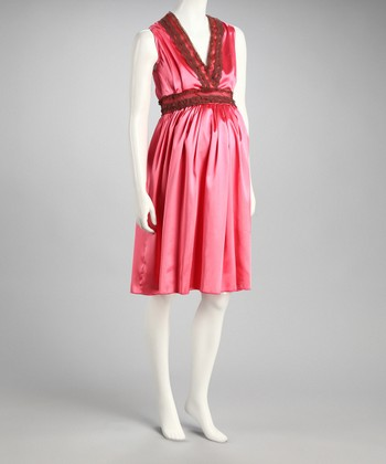 Coral Satin Maternity Dress - Women