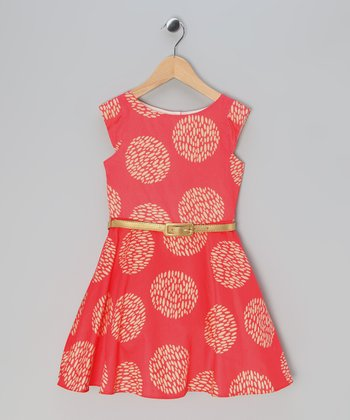 Coral Floral A-Line Dress - Toddler & Girls