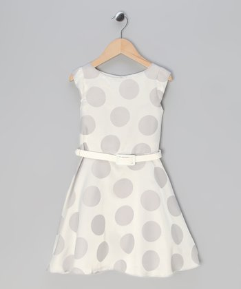 Silver Polka Dot A-Line Dress - Toddler & Girls