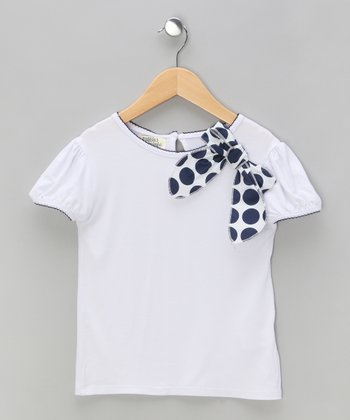 White Polka Dot Bow Puff-Sleeve Tee - Toddler & Girls