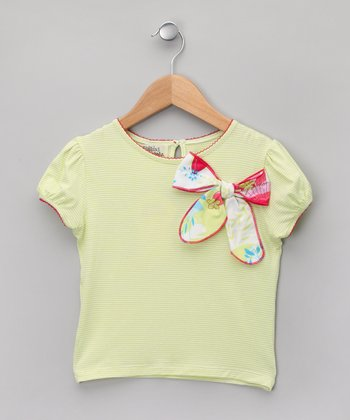 Lime & White Stripe Bow Puff-Sleeve Tee - Girls