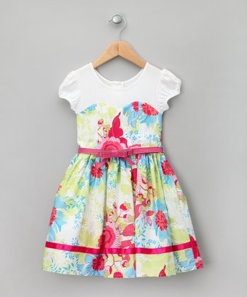 White & Lime Floral Sweetheart Dress - Toddler & Girls