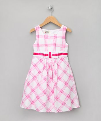 Pink & White Plaid A-Line Dress - Toddler & Girls