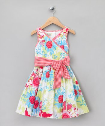 White & Pink Floral Bow Surplice Dress - Toddler & Girls