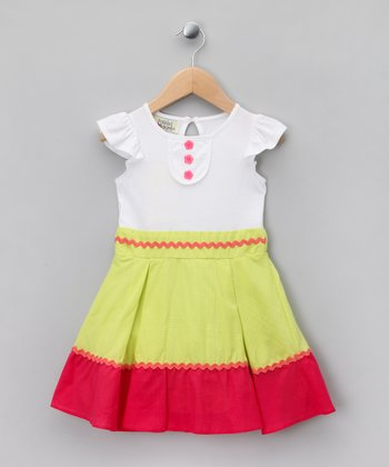 Lime & Red Colorblock A-Line Dress - Toddler & Girls