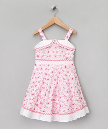 Pink & White Floral A-Line Dress - Toddler & Girls
