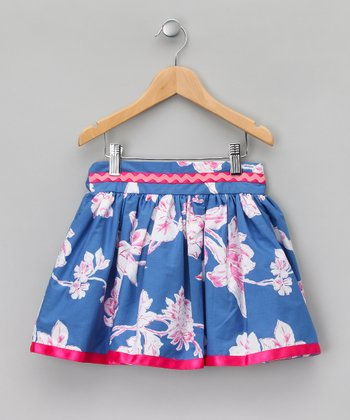 Pink & Blue Floral Rickrack Skirt - Girls