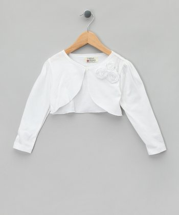 White Rosette Bolero - Toddler & Girls