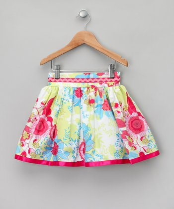 White & Lime Floral Rickrack Skirt - Girls